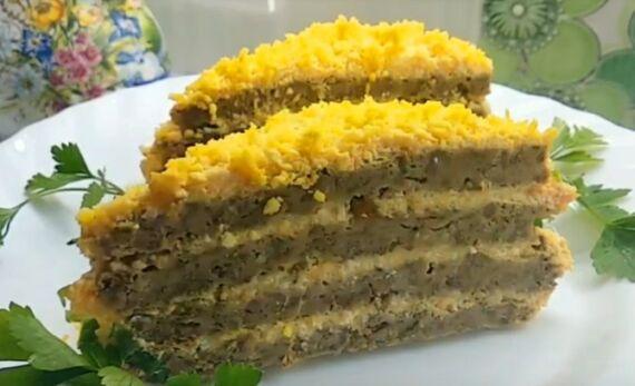 печеночный торт с говяжьей печенью