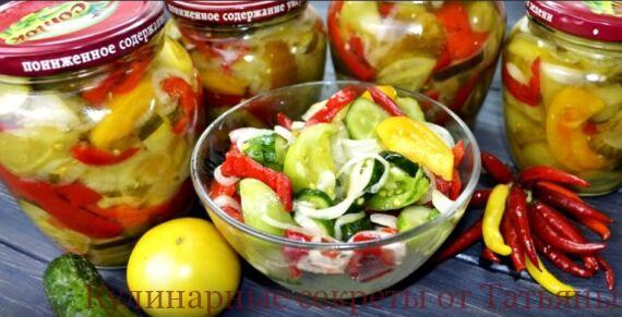 салат из зеленых помидор с огурцами на зиму