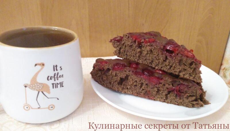 пирог с вишней на кефире шоколадный